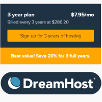DreamHost coupon codes 20% off hosting , free domain name and SSL included