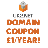 Uk2 Domain name coupon for domain only £1/year !