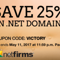 25% OFF domain coupon on .Net domain at Netfirms.com
