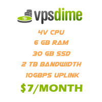 VpsDime Coupon codes 2019 : VPS 6GB Ram just only $7/month