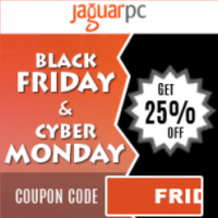 Black Friday & Cyber Monday 2017 JaguarPC coupon: 25%  off any hosting packages