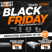 Black Friday 2017 Turnkey Internet Coupon : 90% off hosting,95% off Dedicated servers, 75% off Cloud Servers