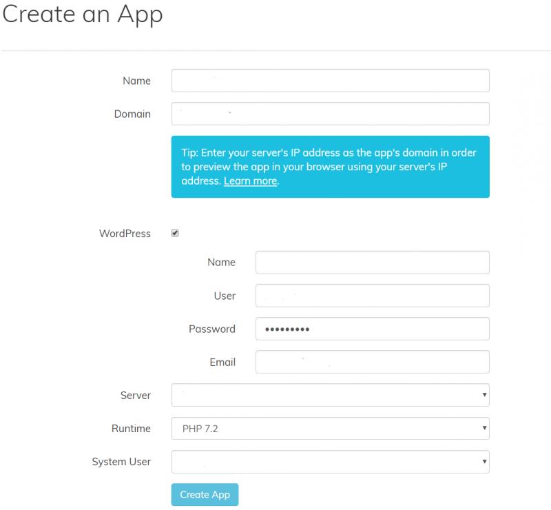 ServerPilot Create an App